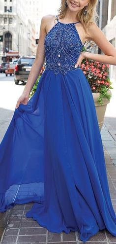 Blue Long Chiffon Prom Dress, Party Dress, Evening Dress