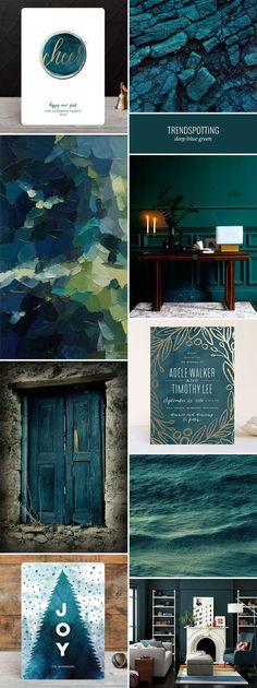 The deep blue green 2016 stationery color trend, featuring inspiration and paper goods in this dramatic, luxurious hue. The deep blue green 2016 stationery color trend, featuring inspiration and paper goods in this dramatic, luxurious hue. Colour Schemes, Color Combos, Colour Palettes, Paint Schemes, Peacock Color Scheme, Peacock Colors, Green Colors, Colours, Wall Colors