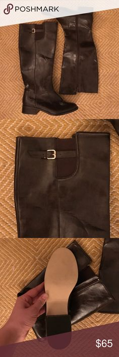 NWOT brown tall Ann Taylor boots Never been worn Ann Taylor brown boots with a side zipper Ann Taylor Shoes Combat & Moto Boots