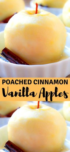 POACHED CINNAMON VANILLA APPLES They were delicious! It was like eating the warm spiced filling of an apple pie. You can serve this apple treat with ice cream, vanilla yogurt or a dollop of whipped cream. Fall Dessert Recipes, Fall Desserts, Fruit Recipes, Apple Recipes, Just Desserts, Holiday Recipes, Delicious Desserts, Yummy Food, Sweet Desserts