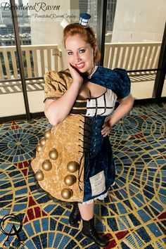 sharemycosplay: An original costume of a TARDIS/Dalek dress at DragonCon 2013 by bewitched-raven Mardi Gras Costumes, Halloween Costumes, Adult Costumes, Dr Who, Tardis Dress, Doctor Who Costumes, Nerd Outfits, Dalek, Best Cosplay