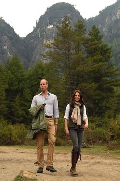 Prince William, Duke of Cambridge and Catherine, Duchess of Cambridge trek up to Tiger's Nest during a visit to Bhutan on the 15th April 2016 in Thimphu, Bhutan. The Royal couple are visiting Bhutan as part of a week long visit to India and Bhutan that has taken in cities such as Mumbai, Delhi, Kaziranga, Bhutan and Agra.