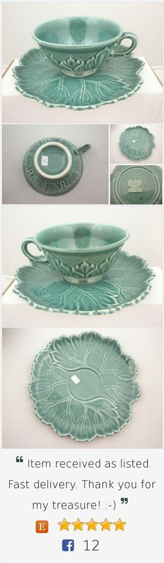 Seafoam Green (Jungle) Leaf Shape Cup & Saucer Set Woodfield by Steubenville Pottery Company