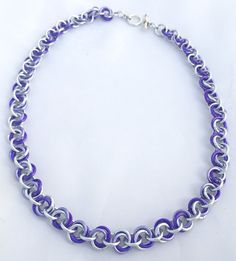 Purple Shades Anodised Aluminium Mobius Chainmaille Necklace