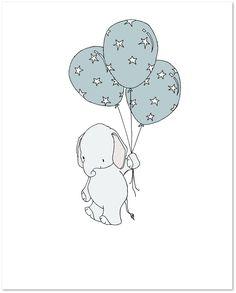 Elephant Nursery Art Print – Elephant Star Spangled Balloons — Sweet Melody Designs Bebek Odası – Home Decoration Elephant Nursery Art, Nursery Wall Art, Nursery Decor, Little Elephant, Baby Elephant, Scrapbooking Image, Image Deco, Baby Art, Cute Illustration