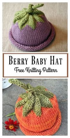 knitting patterns This Berry Baby Hat Free Knitting Pattern is a very cute and popular newborn gift and since the hat is rolled, this can also stretch over a larger head. Baby Hat Knitting Patterns Free, Baby Hats Knitting, Knitting For Kids, Baby Patterns, Free Knitting, Knitted Hats, Knitting Machine, Baby Hat Crochet, Quick Knitting Projects