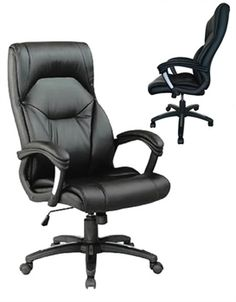 Boston Leather Executive Office Chair. Features a heavy duty gas seat height adjustment and fully synchronised tilt to seat and back rest with adjustable tension control. Finished in black with a black nylon base and twin wheel hooded castors. #office
