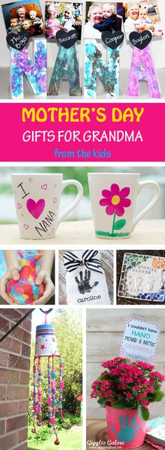 Mother's Day gifts for grandma from the kids: handprint gifts, footprint gifts, fingerprint gifts, mugs, vases, wind chimes, flower pots and more. Easy gifts for toddlers, preschoolers and older kids. #mothersdaygift #mothersday