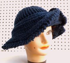 Womens Hat Womens Crochet Hat Crochet Wide Brim Hat Women Navy Blue Hat Blue Navy Hat FRONTIER Wide Brim Hat by strawberrycouture by #strawberrycouture on #Etsy