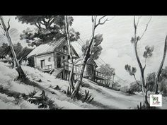 "This video is all about the ""Drawing and shading techniques"".It shows how to draw objects in an easy manner,a simple sketch of a landscape & different tones . Landscape Sketch, Landscape Drawings, Cool Landscapes, Pencil Art Drawings, Easy Drawings, Drawing Sketches, Pencil Sketching, Sketchbook Drawings, Drawing Stuff"