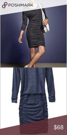 NWT Athleta tulip long sleeve BLUE dress Athleta fitted long sleeve dress, gathered skirt, made of Lycra which gives it a light weight easy breathable feel size SP but doesn't fit like a P Athleta Dresses Midi