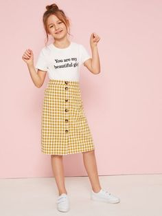 Girls Slogan Graphic Tee and Button Up Gingham Skirt Set - Girls Slogan Tee and Button Up Gingham Skirt Set Source by bestproductsofchina - Dresses Kids Girl, Kids Outfits Girls, Cute Girl Outfits, Girls Fashion Clothes, Tween Fashion, Cute Outfits For Kids, Teenager Outfits, Teen Fashion Outfits, Cute Casual Outfits