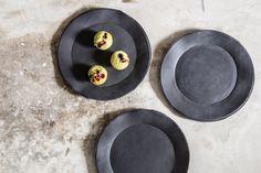 Black Porcelain plate.Salad Plate.Black Plate,Cake Plate,Modern Look,Housewarming Gift by 1220CeramicsStudio on Etsy