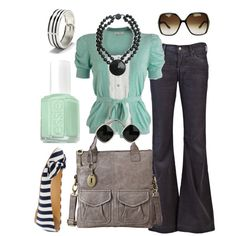 mint and black accessories by htotheb on Polyvore