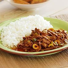 Yummy Ropa Vieja (cuban meat stew) I LOVE cuban food...just love it.  I make this dish a lot.  I basically throw all of the ingredients in the crock pot (minus the capers, we don't eat those), and cook on low all day and serve over rice.  #recipe #cuban #ropavieja
