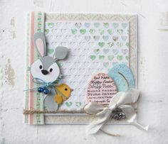 Card by DT member Marleen with Design Folder Hearts (DF3413), Collectables Easter (COL1382), Bunny (COL1354) and Mother Hen (COL1351) by Marianne Design