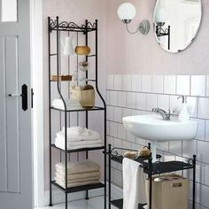 IKEA ShelvesThe Rönnskär shelf unit from Ikea takes up very little floor space, making it perfect for the small bathroom. Designed for corners, this shelf makes the most of an often wasted space. Fill the shelves with towels, bathroom essentials and decorative storage baskets. At Ikea; $39.99.