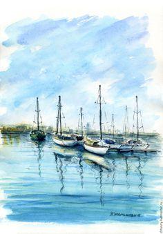 Купить или заказать Акварель 'Морской пейзаж' в интернет-магазине на Ярмарке Мастеров. Море, яхты, бриз. Рекомендую оформить в раму с паспарту.