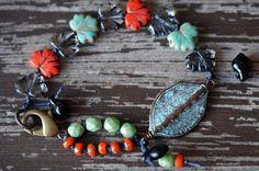 Turchese e corallo braccialetto - Boho - foglia - annodato - gioielli di perline zuppa