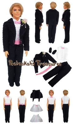 Crochet Barbie Wedding Set for Isabel by Rebeckah's Treasures ~ Ken Groom