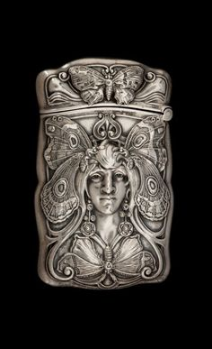 A GORHAM BUTTERFLY WOMAN SILVER MATCH SAFE - Gorham Manufacturing Co., Providence, Rhode Island, 1909.