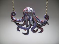 Small Purple Octopus Necklace  Polymer Clay by MythicSculptlore