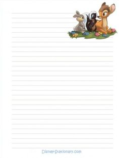 """Tell A Story"": Bambi from ""Bambi"", as courtesy of Walt Disney (Letter pad) Printable Lined Paper, Free Printable Stationery, Disney Printables, Lined Writing Paper, Stationery Paper, Note Paper, Paper Decorations, Journal Cards, Bambi"
