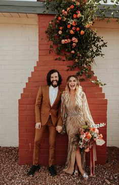 Non-traditional bride and groom fashion fits in perfectly at this boho glam California desert wedding | Image by Karra Leigh Photo