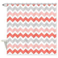 Coral Grey White Chevron Stripes Shower Curtain on CafePress.com