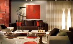 Modernes Wohnzimmer Rot Braun Beige Kombination Möbel Deko