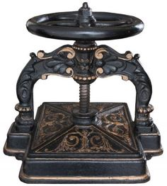 English 19th Century Iron Book Press | Fireside Antiques