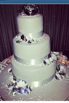 Diamonds bling out wedding cake