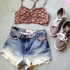 """Spotted while shopping on Poshmark: """"Dip Dyed Studded High Waisted Shorts""""! #poshmark #fashion #shopping #style #Denim"""