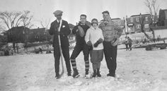 A lovely winter scene from Toronto in the 1920s: These people (some of whose names are Mervin and Frieda & Bill Jones) are on a skating rink in Eglinton Park (north of Eglinton W, between Edith Dr and Oriole Pkwy). You can see the back of the houses on Edith Dr., and Roselawn Ave is on the left. This is one of the Baldwin Collection pictures on Toronto Public Library's Digital Archive (tpl.ca/digital-archive).