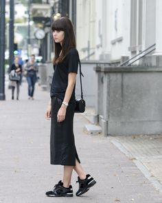 outfit all black chanel trainers pencil skirt