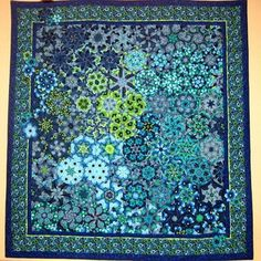 """Handcrafted Hexagonal Quilt Wall Hanging of """"Springtime Florals"""" 