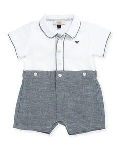 K0LBK Armani Junior Pique & Chambray Shortall, Blue, Size 3-12 Months