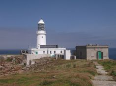 View of Round Island lighthouse from the top of the island