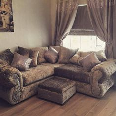Crushed Velvet Sofa Chesterfield Diamanté luxury sofa NEW FREE DELIVERY