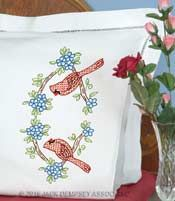 Cardinals Pillowcases | jack Dempsey needle Art #embroidery #handembroidery…