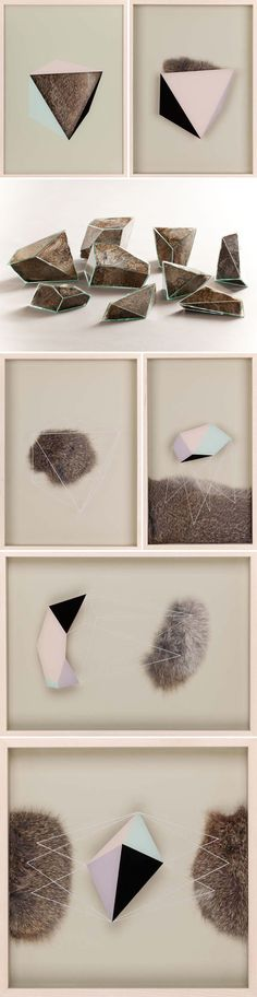 "geometric mixed media pieces from a series titled ""Transitional"" by Colombian artist Marcela Cárdenas."