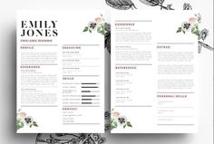 Professional CV/ PSD + Word by Emily's ART Boutique  on Creative Market