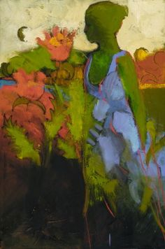 Woman in a garden. Painting.