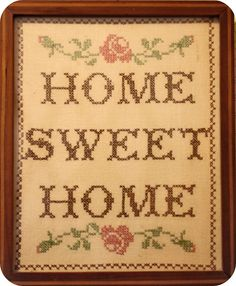 home sweet home framed cross stitch