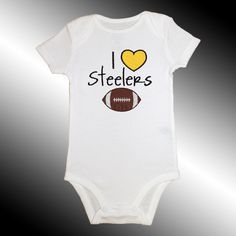 Onesie Bodysuit Baby Shirt - I Love Steelers Football Applique - Embroidered Short or Long Sleeved - Free Shipping. $18.99, via Etsy.