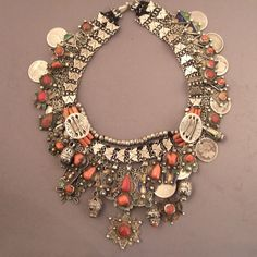 Africa | Kabyles silver, enamel and coral necklace from Algeria | ca. more than 100 yrs old