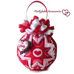 LOVE valentine's day pink red heart decoration by PinKyJubb, $16.00