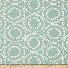 P Kaufmann Ring a Bell Iceberg Blue from @fabricdotcom  Screen printed on cotton duck; this heavyweight fabric has a soil and stain repellent finish and very versatile. Perfect fabric for window treatments (draperies, valances, curtains, and swags), duvet covers, pillow shams, accent pillows, slipcovers and upholstery. Colors include ivory and teal.