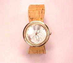 Cork Women's Watch Wristwatch Gold Cork Watch - Valentine's Day Gift