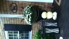 Front porch decorated for fall. Love this